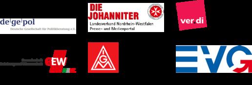 Logos der Verbände und Gewerkschaften: Deutsche Gesellschaft für Politikberautung e.V., Die Johanniter, ver.di, Gewerkschaft Erziehung und Wissenschaft NRW, IG Metall, Eisenbahn- und Verkehrsgewerkschaft (EVG)