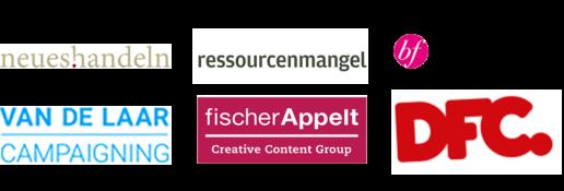Logos der Agenturen: Neueshandeln, Ressourcenmangel, Best Friend, Van De Laar Campaigning, fischer Appelt und DFC Deutsche Fundraising Company GmbH